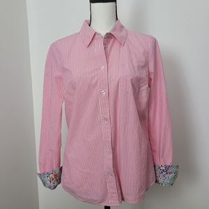 Boden button front pink striped blouse 8